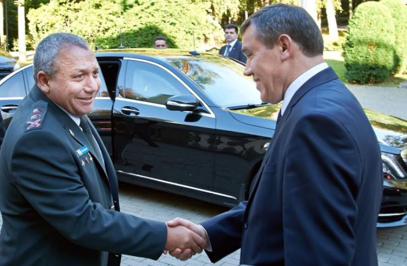 IDF Chief of Staff Lt.-Gen. Gadi Eisenkot (left) with Chief of the General Staff of the Russian Army General Valery Vasilevich Gerasimov, September 21, 2015.  (photo credit: IDF)