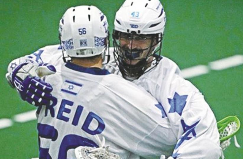 Israeli lacrosse teammates celebrating (photo credit: Courtesy)