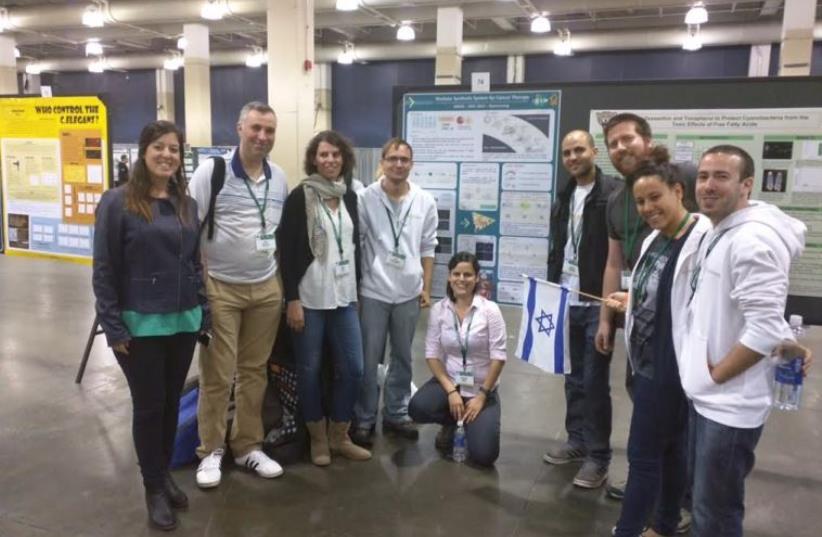 Ben-Gurion University student team at Boston's International Genetically Engineered Machine Competition. (photo credit: BEN GURION UNIVERSITY OF THE NEGEV)