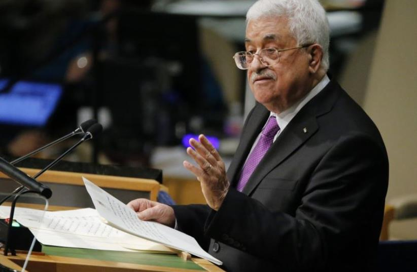 Palestinian Authority President Mahmoud Abbas addresses UN General Assembly (photo credit: REUTERS)