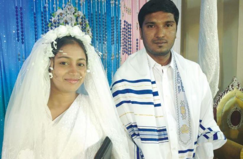 Members of the Zion Torah Center hold traditional Jewish wedding ceremonies (photo credit: SAMUEL AND ANN DEVASAHAYAM)