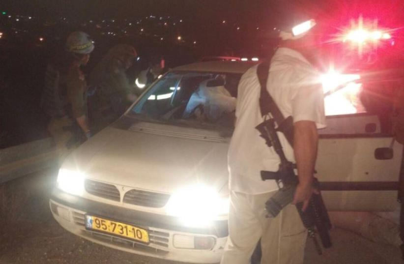 Scene of West Bank drive by shooting that left a couple dead (photo credit: COURTESY UNITED HATZALAH)