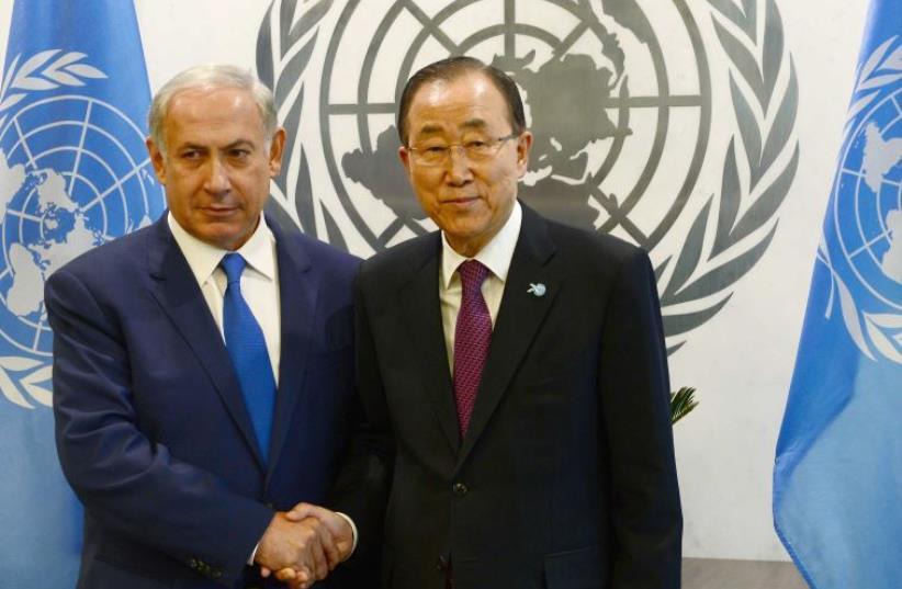 Prime Minister Benjamin Netanyahu (L) and UN Secretary-General Ban Ki-moon meet in New York (photo credit: AVI OHAYON - GPO)