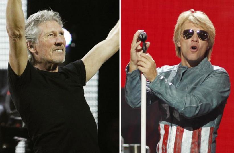 Pink Floyd rocker Roger Waters (L) and Jon Bon Jovi (photo credit: REUTERS)