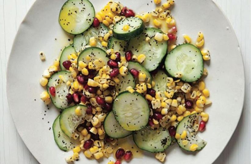 Cucumber and Corn Salad with Poppy and Pomegranate (photo credit: KATE SEARS)
