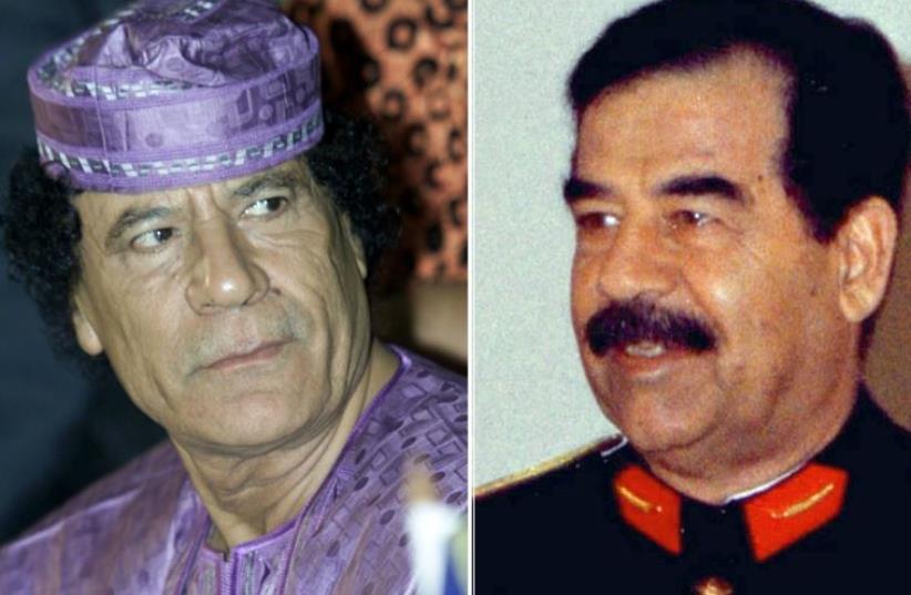 Deposed dictators Muammar Gaddafi of Libya (L) and Saddam Hussein of Iraq (photo credit: REUTERS)