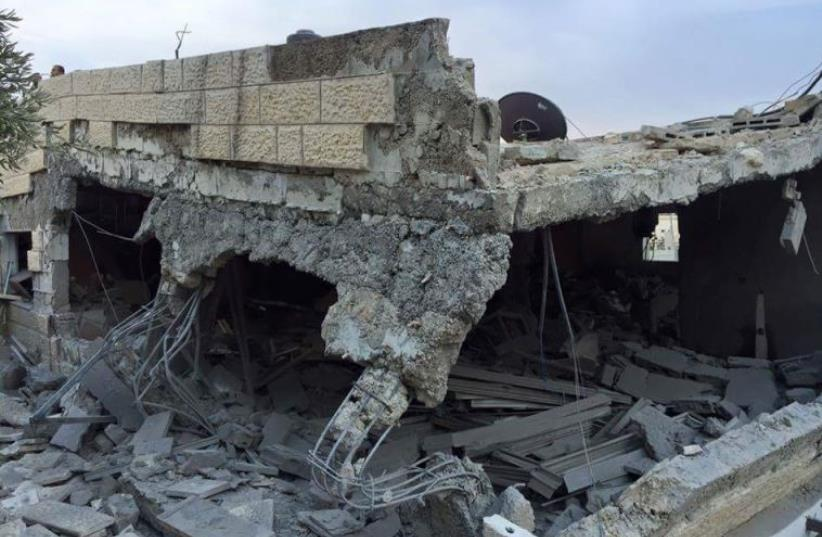 A terrorist's home said to be demolished by the IDF on October 6, 2015 (photo credit: PALESTINIAN MEDIA)