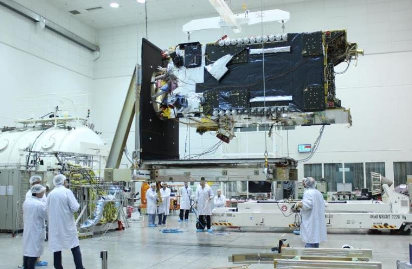 AMOS-6 satellite. (photo credit: SPACECOM)