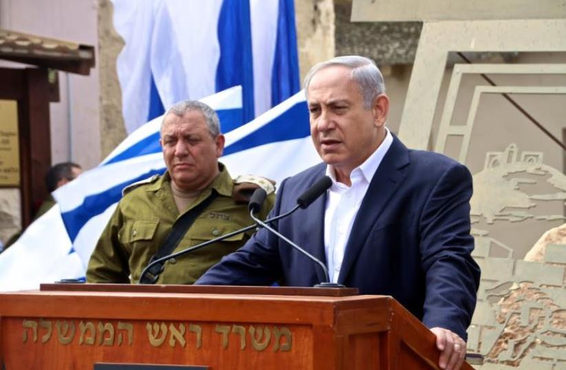 Chief of General Staff Lt.-Gen. Gadi Eizenkot and Prime Minister Benjamin Netanyahu at the Samaria Brigade Headquarters in the West Bank. (photo credit: TOVAH LAZAROFF)