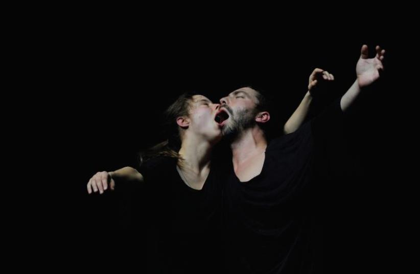 GERMAN DUO Angela Schubot (left) and Jared Gradinger perform 'I Hope You Die Soon You Are Theirs.' (photo credit: DIETER HERTOG)