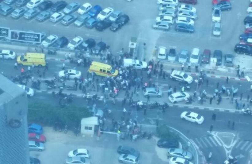 Scene of Tel Aviv terror attack (photo credit: HENRI AZAMI)