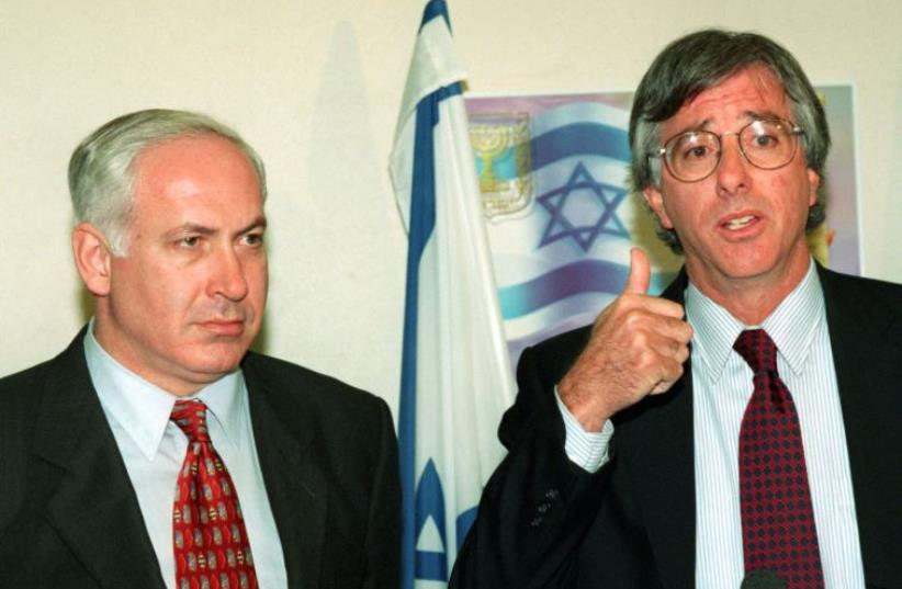 United States special envoy Dennis Ross (R) and Prime Minister Benjamin Netanyahu meet in Jerusalem in this 1998 file photo (photo credit: REUTERS)