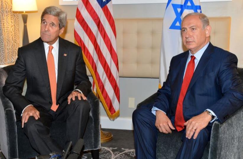 US Secretary of State John Kerry (L) meets Prime Minister Benjamin Netanyahu in New York (photo credit: STATE DEPARTMENT)