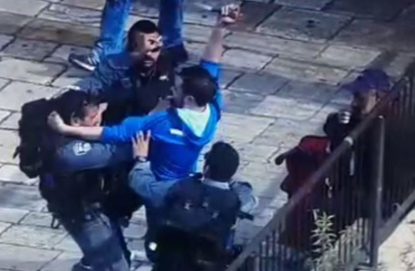 Scene of stabbing attack at Damascus Gate (photo credit: screenshot)