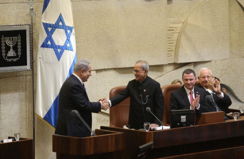 PM Netanyahu with Indian president Pranab Mukherjee at Knesset (photo credit: MARC ISRAEL SELLEM/THE JERUSALEM POST)