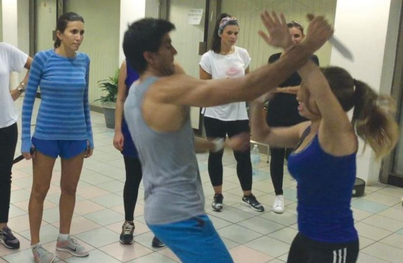 Oren Mallul demonstrates Krav Maga in Tel Aviv. After the terror attacks the instructor saw a demand for self-defense classes (photo credit: Courtesy)
