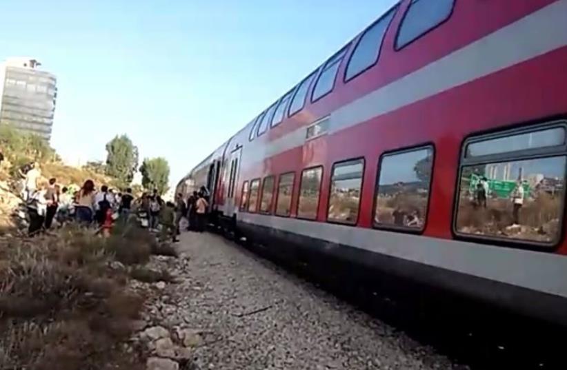 Northbound train which made emergency stop near Haifa (photo credit: GUY BAZAK)
