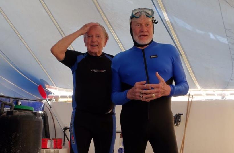 MORRIS KAHN (left) and Buzz Aldrin (photo credit: Courtesy)