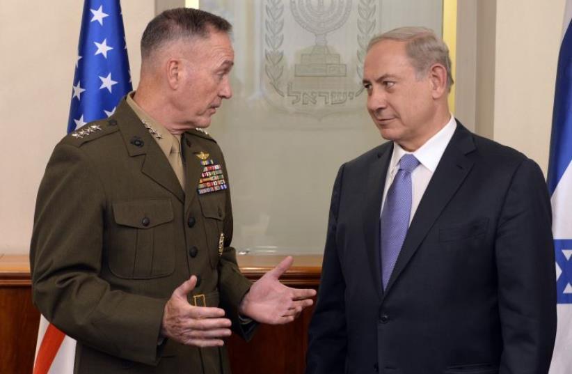 US Joint Chiefs of Staff, Gen. Joseph Dunford with Prime Minister Benjamin Netanyahu, October 18, 2015 (photo credit: MATTY STERN/U.S. EMBASSY TEL AVIV)