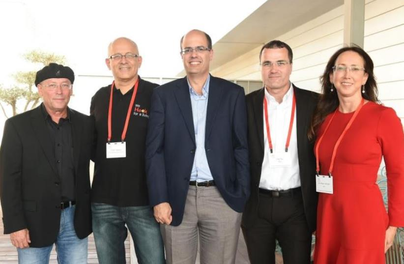 From R to L, IATI CEO Karin Mayer Rubenstein, EMC Israel GM Erez Tsur, Chief Scientist Avi Hasson, Microsoft Israel GM Manager, and former Intel Israel CEO Mooly Eden (photo credit: CHAIM BACHIR)