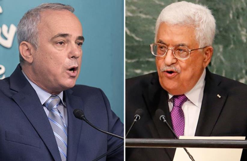 Steinitz and Abu Mazen (photo credit: MENAHEM KAHANA / AFP,REUTERS)