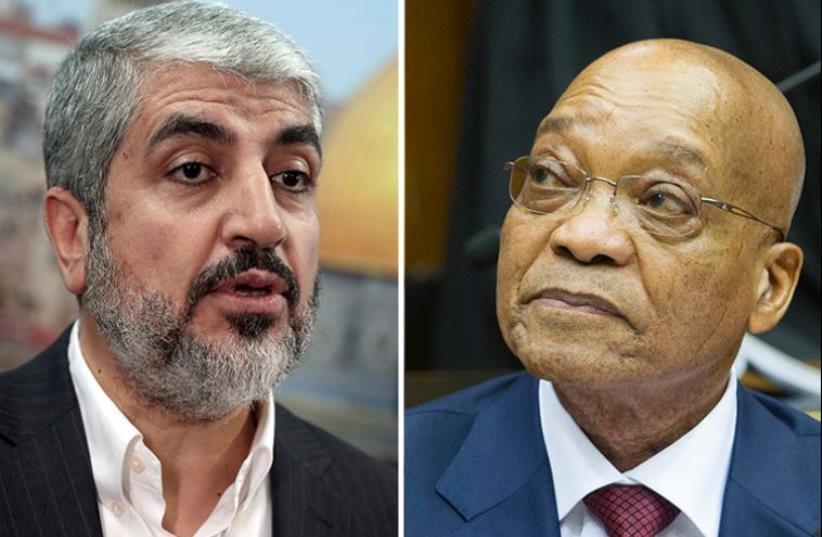 Khaled Mashaal and Jacob Zuma (photo credit: REUTERS)