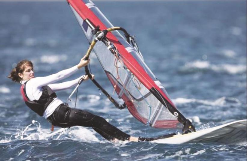 Israeli windsurfer Ma'ayan Davidovich at Oman Worlds competing flag-less (photo credit: ISRAELI SAILING ASSOCIATION/COURTESY)