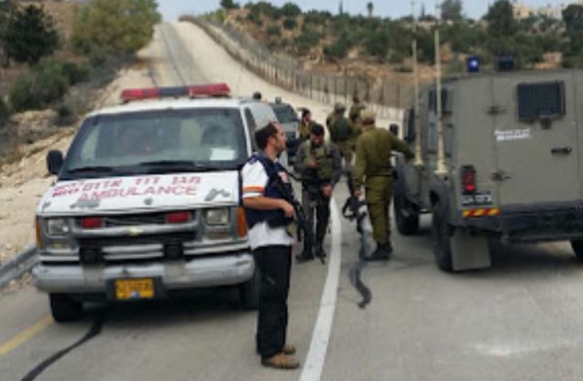 Scene of attack near West Bank town of Bet Awwa (photo credit: HAR HEVRON SPOKESMAN)