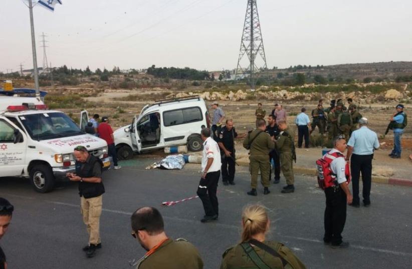 Scene of vehicular terror attack at Gush Etzion Junction, October 20, 2015 (photo credit: GUSH ETZION REGIONAL COUNCIL)