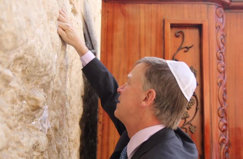 Colorado Governor John Hickenlooper at Jerusalem's Western Wall. (photo credit: Courtesy)