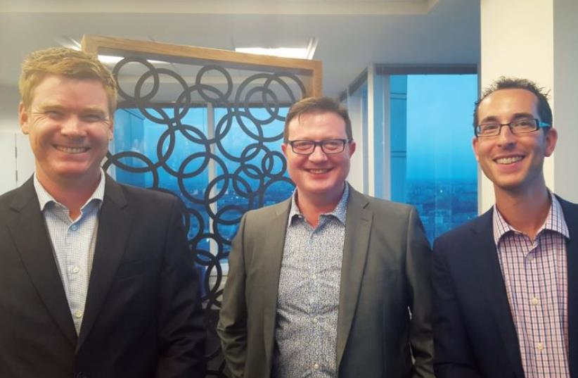 FROM LEFT, James McGarry, deputy chief of mission at the Australian Embassy; Rod Kenning, general manager of the 'Australian Jewish News'; and Nethan Jeffay, Israel correspondent for the AJN (photo credit: AUSTRALIAN EMBASSY)