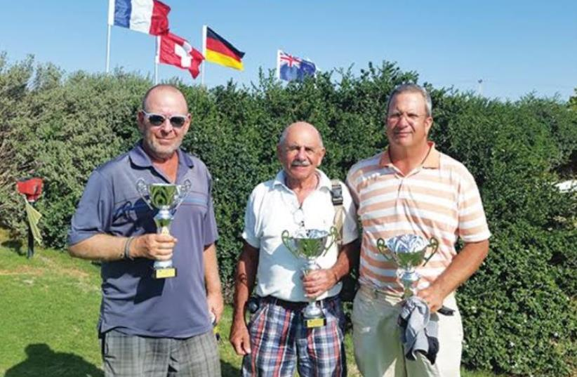 2015 Ga'ash Men's Club Championship winners (from left) Moshe Nessis, Dave Haskell and Ashley Silber (photo credit: Courtesy)