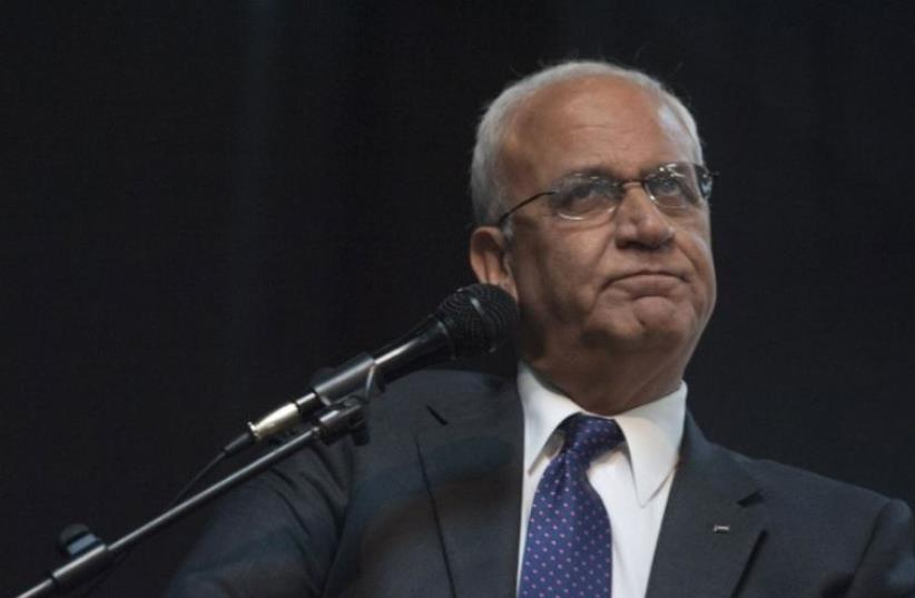 Saeb Erekat, the secretary-general of the Palestine Liberation Organization (photo credit: AFP PHOTO)