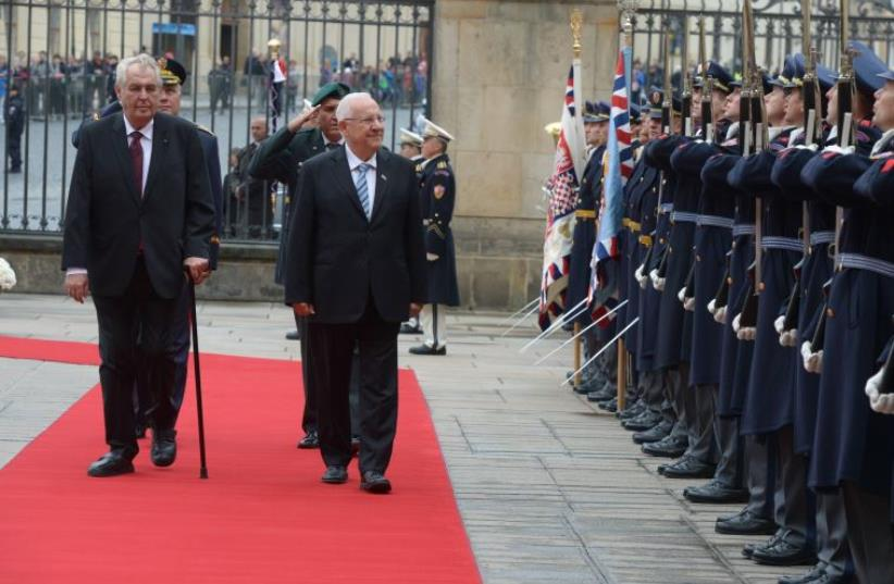 CZECH PRESIDENT Milos Zeman welcomes President Reuven Rivlin at Prague Castle (photo credit: MARK NEYMAN / GPO)
