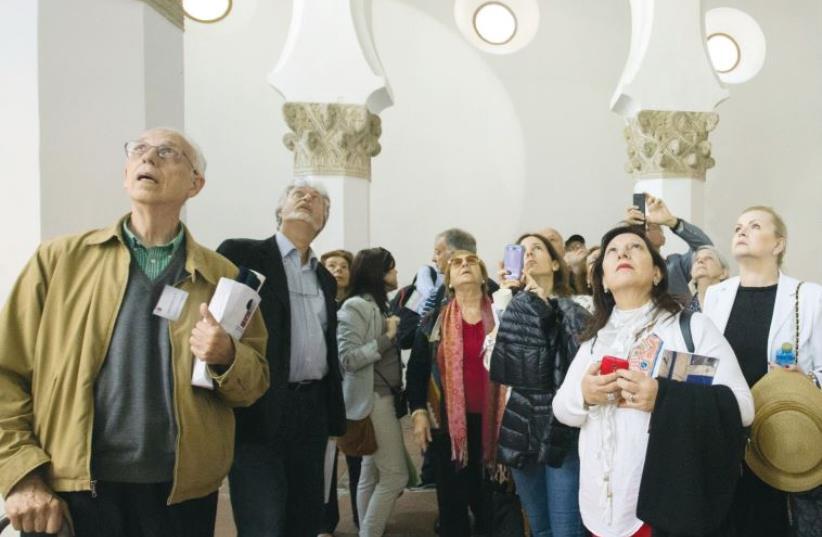 Heads of Sephardi Communities visit a former synagogue, during the third Erensya Summit. (photo credit: PEPE MENDEZ)
