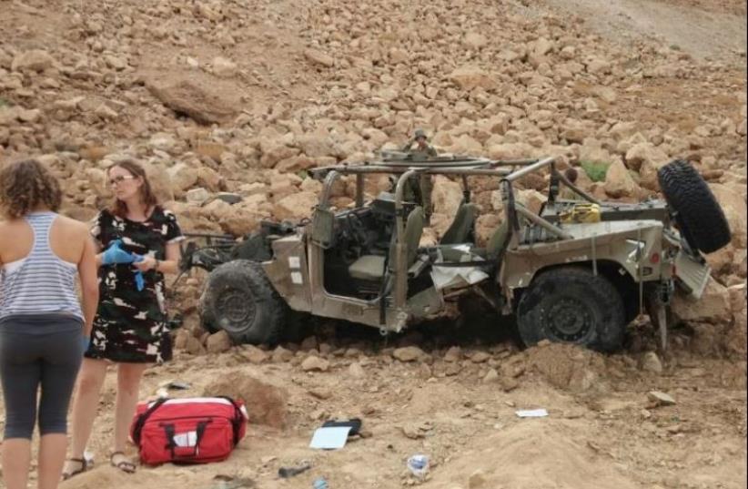 The overturned IDF jeep near the Dead Sea (photo credit: Courtesy)