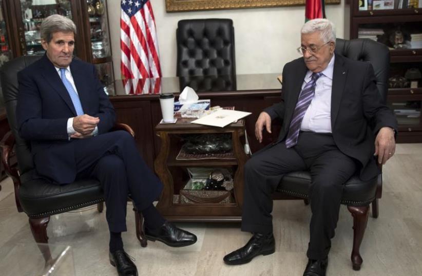 Kerry and Abbas meet in Amman, Jordan (photo credit: REUTERS)