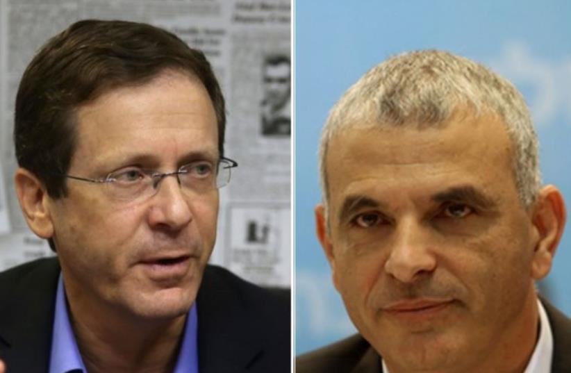Zionist Union head Isaac Herzog (left) and Kulanu leader Moshe Kahlon (photo credit: MARC ISRAEL SELLEM/THE JERUSALEM POST)