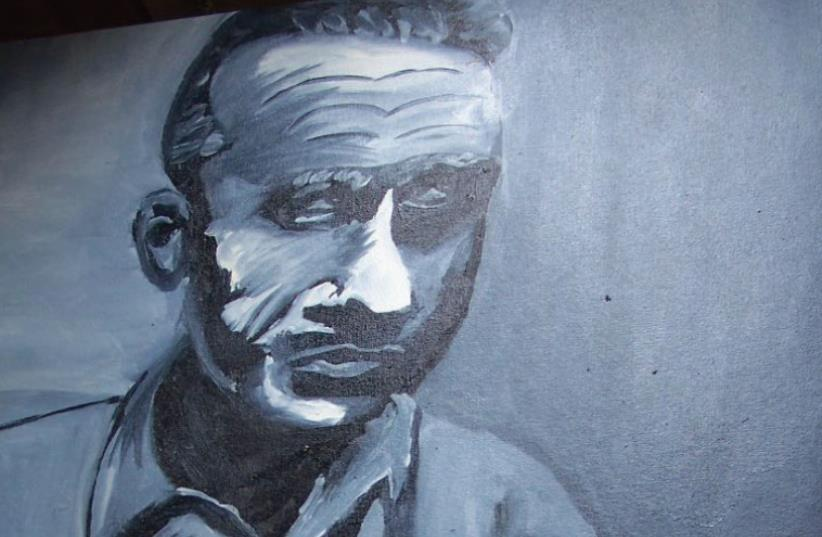 The author's painting of Yitzhak Rabin in 1995. (photo credit: SETH J. FRANTZMAN)