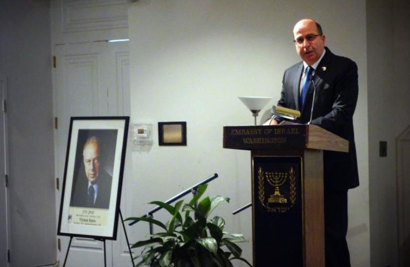 Defense Minister Moshe Ya'alon speaks in Washington (photo credit: ARIEL HERMONI / DEFENSE MINISTRY)