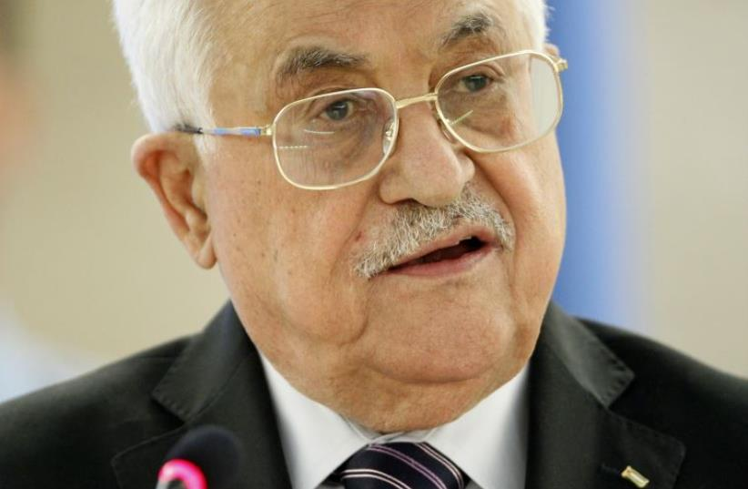Palestinian President Mahmoud Abbas addresses the special meeting of Human Rights Council at the United Nations European headquarters in Geneva, Switzerland October 28, 2015 (photo credit: REUTERS)