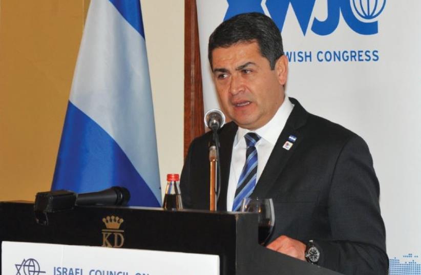 HONDURAS PRESIDENT Juan Orlando Hernández (photo credit: ANDRES LACKO)