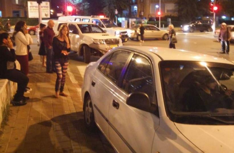 Scene of stabbing attack in Netanya (photo credit: SHULY A)