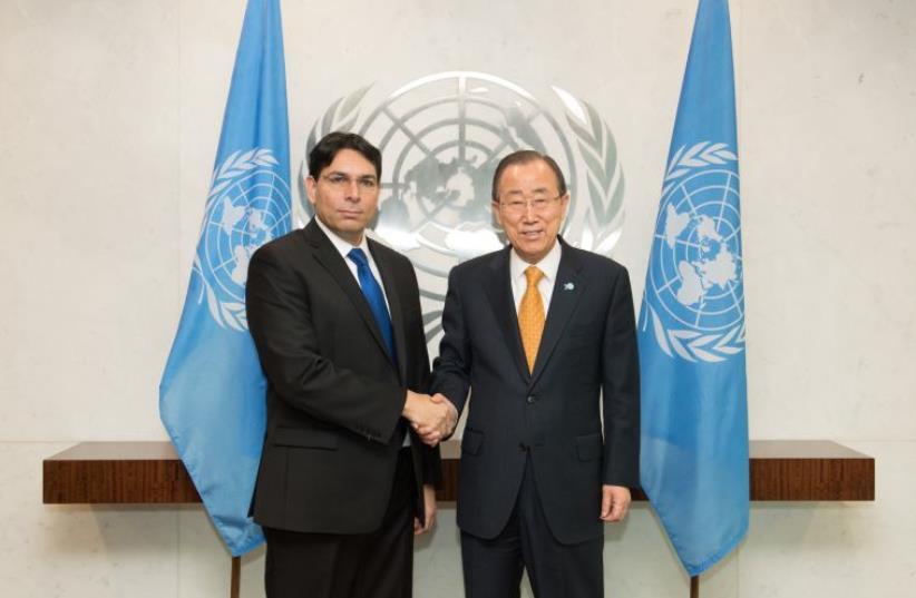 Israel's Ambassador to the UN Danny Danon with UN Secretary General Ban Ki-Moon (photo credit: SHAHAR AZRAN)