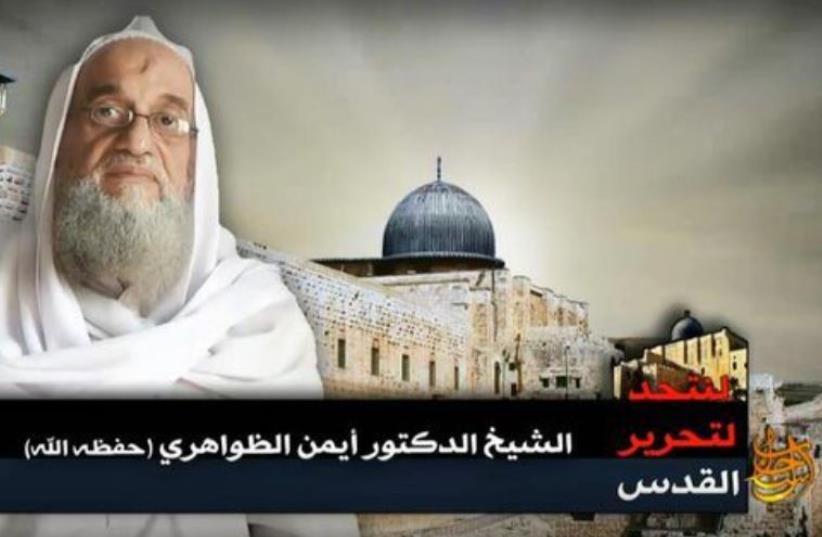 Screenshot from the audio-video recording 'To unit for the Liberation of Palestine' show's Zawahri standing in front of the Al Aqsa Mosque (photo credit: screenshot)
