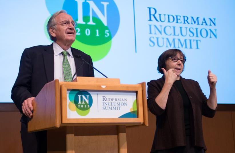 Former US senator Tom Harkin receives an award in Boston this week at the Ruderman Family Foundation's Inclusion Summit (photo credit: NOAM GALAI)