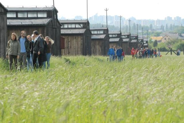 University students on the March of Remembrance and Hope visit the barracks at Majdanek concentration camp, located on the outskirts of Lublin, Poland (photo credit: COURTESY SECOND STORY PRESS/MARCH OF THE LIVING)