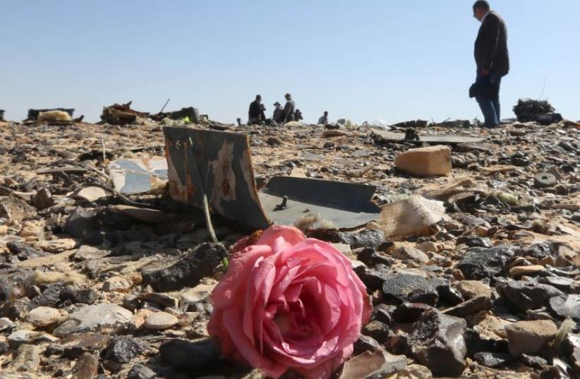 A flower is seen near debris at the crash site of a Russian airliner in al-Hasanah area in El Arish city, Egypt. (photo credit: MOHAMED ABD EL GHANY/REUTERS)