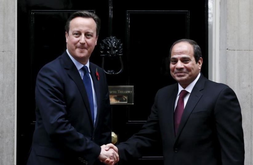 UK Prime Minister David Cameron with Egyptian President Abdel Fattah al-Sisi (photo credit: REUTERS)