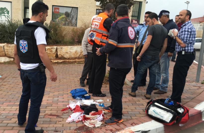 Terror attack at Sha'ar Binyamin industrial park Nov 6, 2015 (photo credit: KBUZTAT MEDABRIM TAKSHORET)